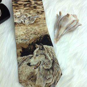 Endangered Species Wolf Collectible Tie Silk EUC